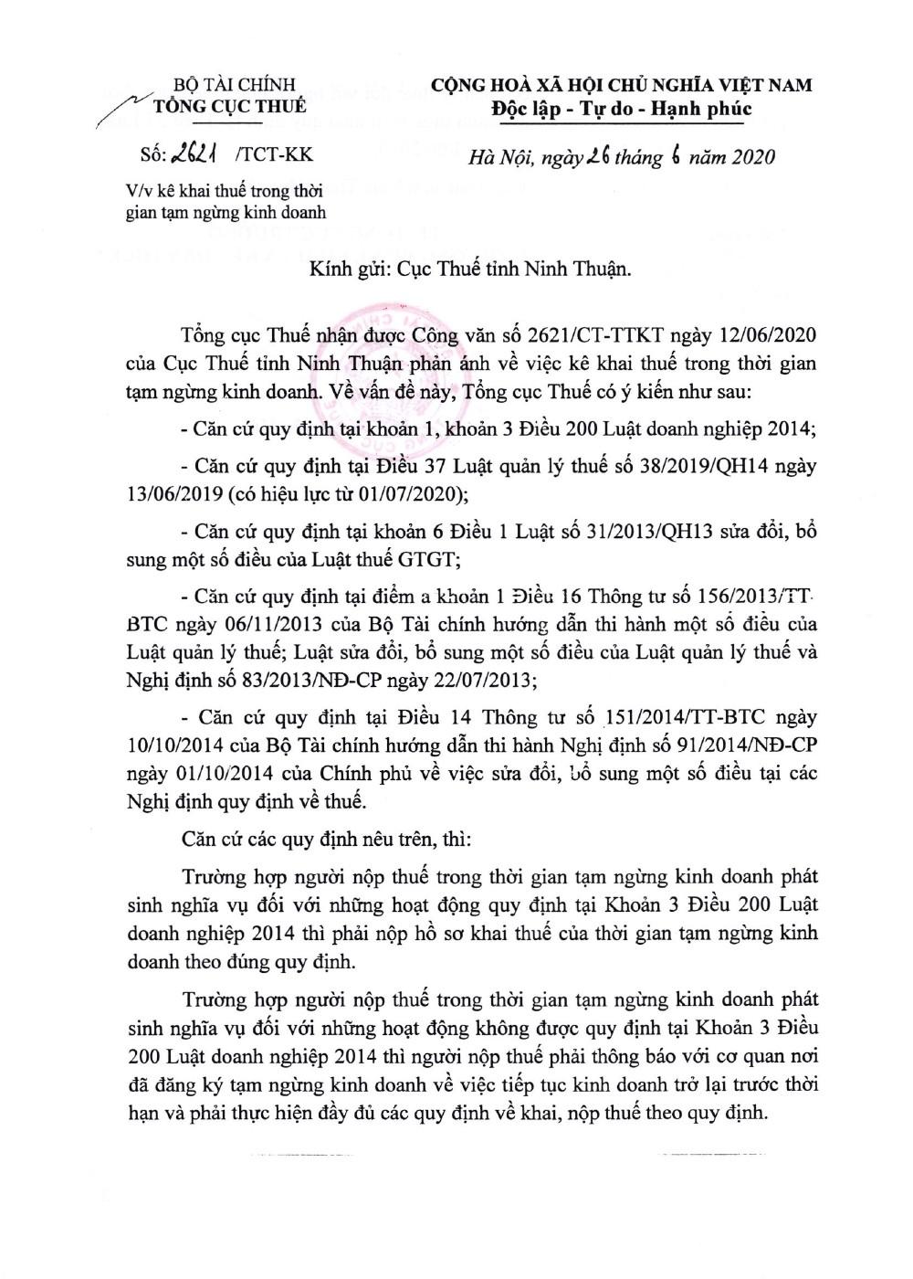 Công văn số 2621/TCT-KK của Tổng cục Thuế ngày 16/06/2020 v/v kê khai thuế trong thời gian tạm ngừng kinh doanh