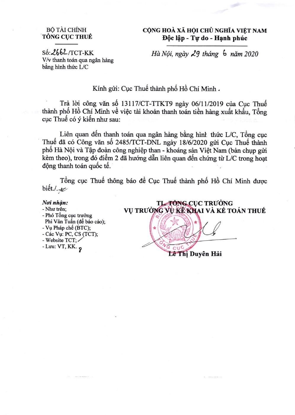 Công văn số 2662/TCT-KK của Tổng cục Thuế ngày 29/06/2020 v/v thanh toán qua ngân hàng bằng hình thức L/C