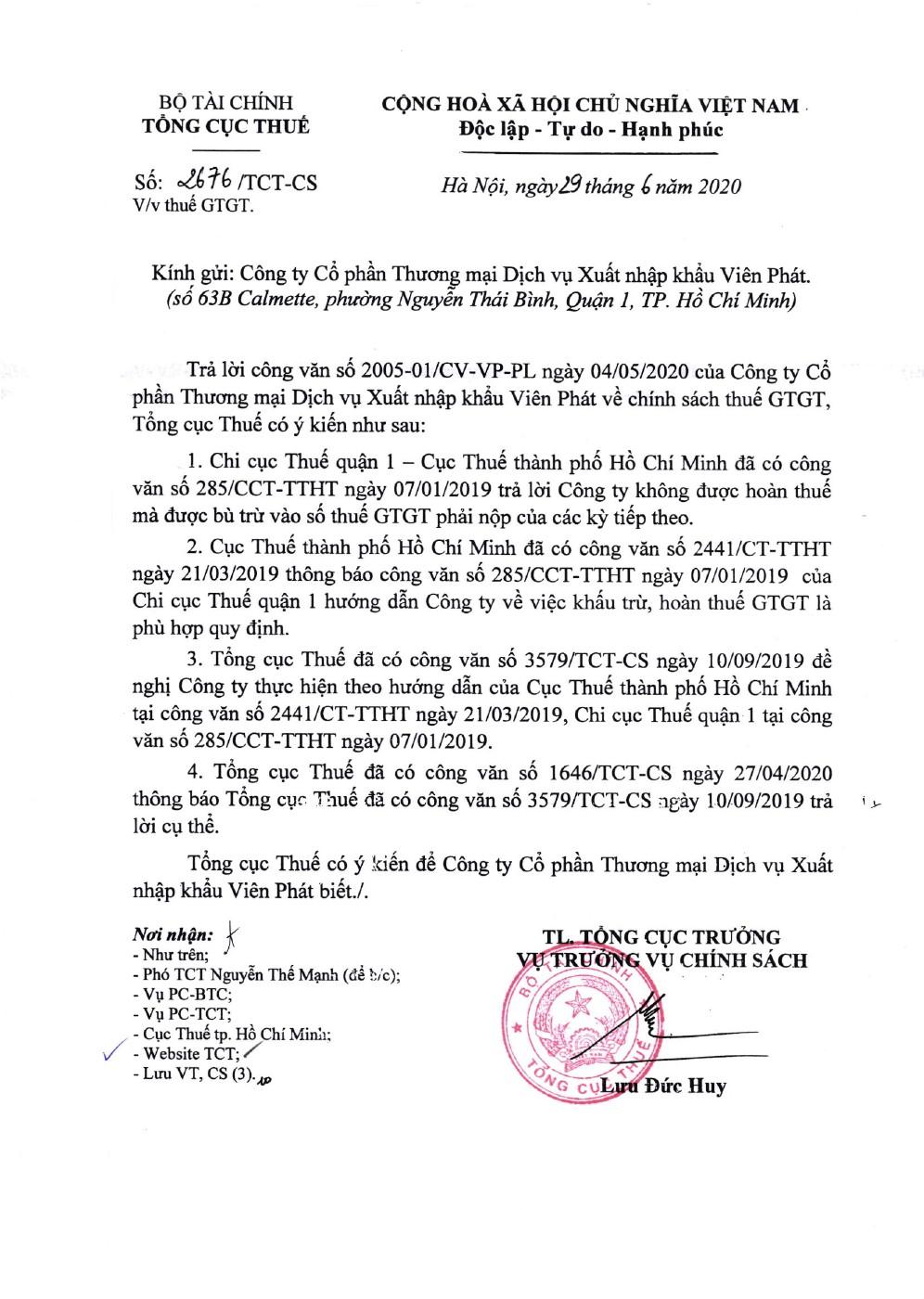 Công văn số 2676/TCT-CS của Tổng cục Thuế ngày 29/06/2020 v/v thuế GTGT