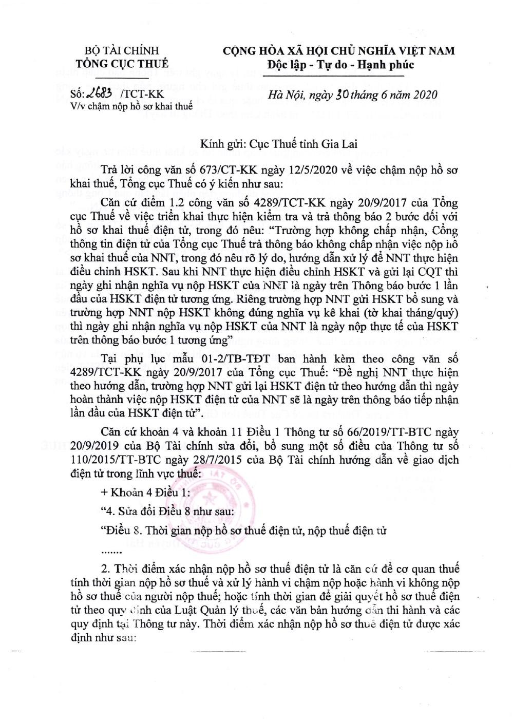 Công văn số 2683/TCT-KK của Tổng cục Thuế ngày 30/06/2020 v/v chậm nộp hồ sơ khai thuế