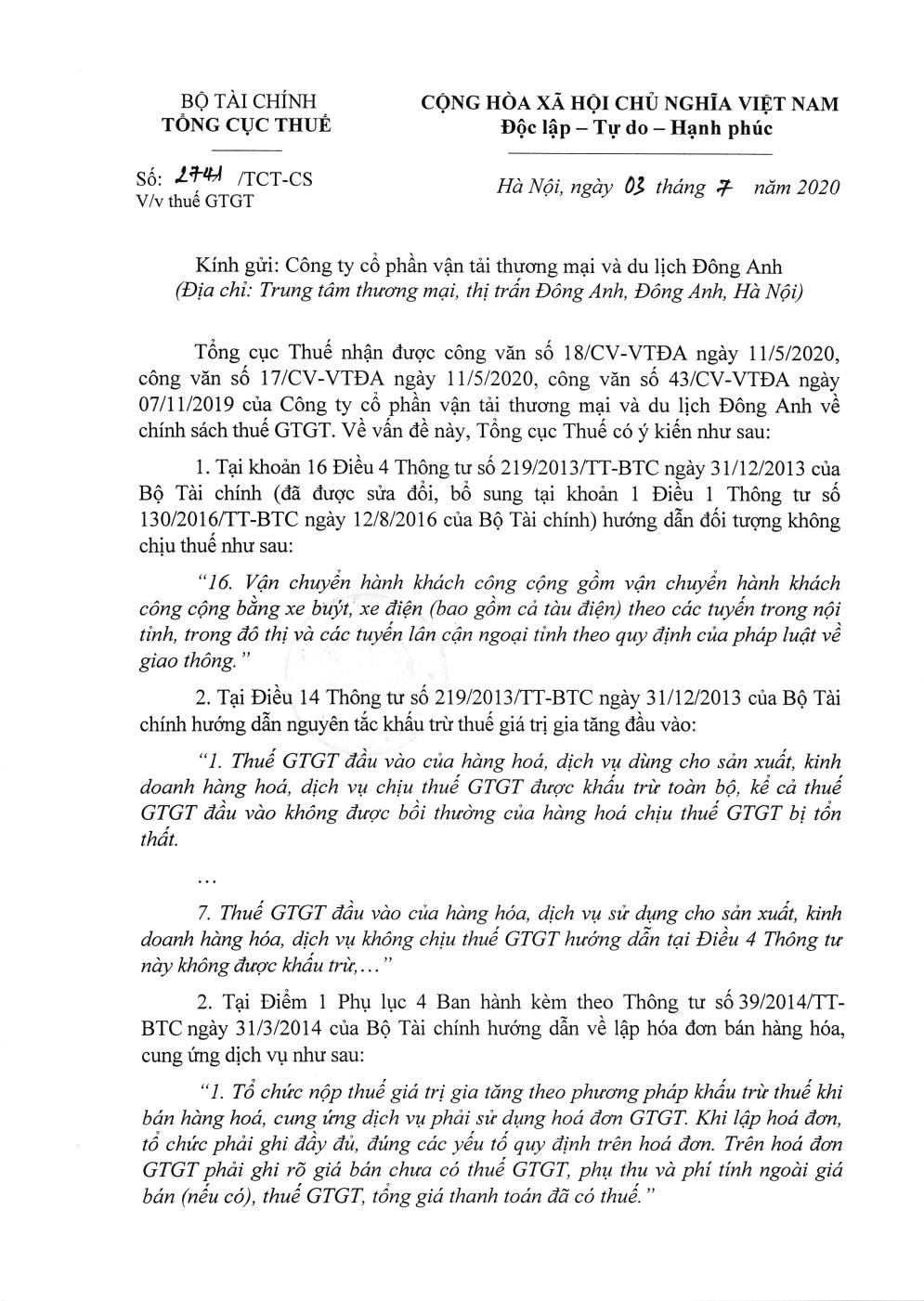 Công văn số 2741/TCT-CS của Tổng cục Thuế ngày 03/07/2020 v/v thuế GTGT