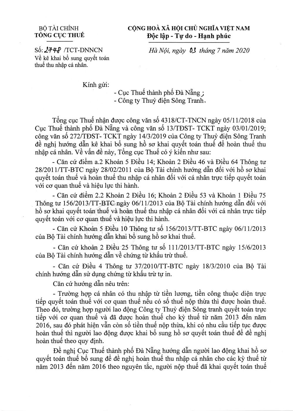 Công văn số 2748/TCT-DNNCN của Tổng cục Thuế ngày 03/07/2020 v/v kê khai bổ sung quyết toán thuế TNCN