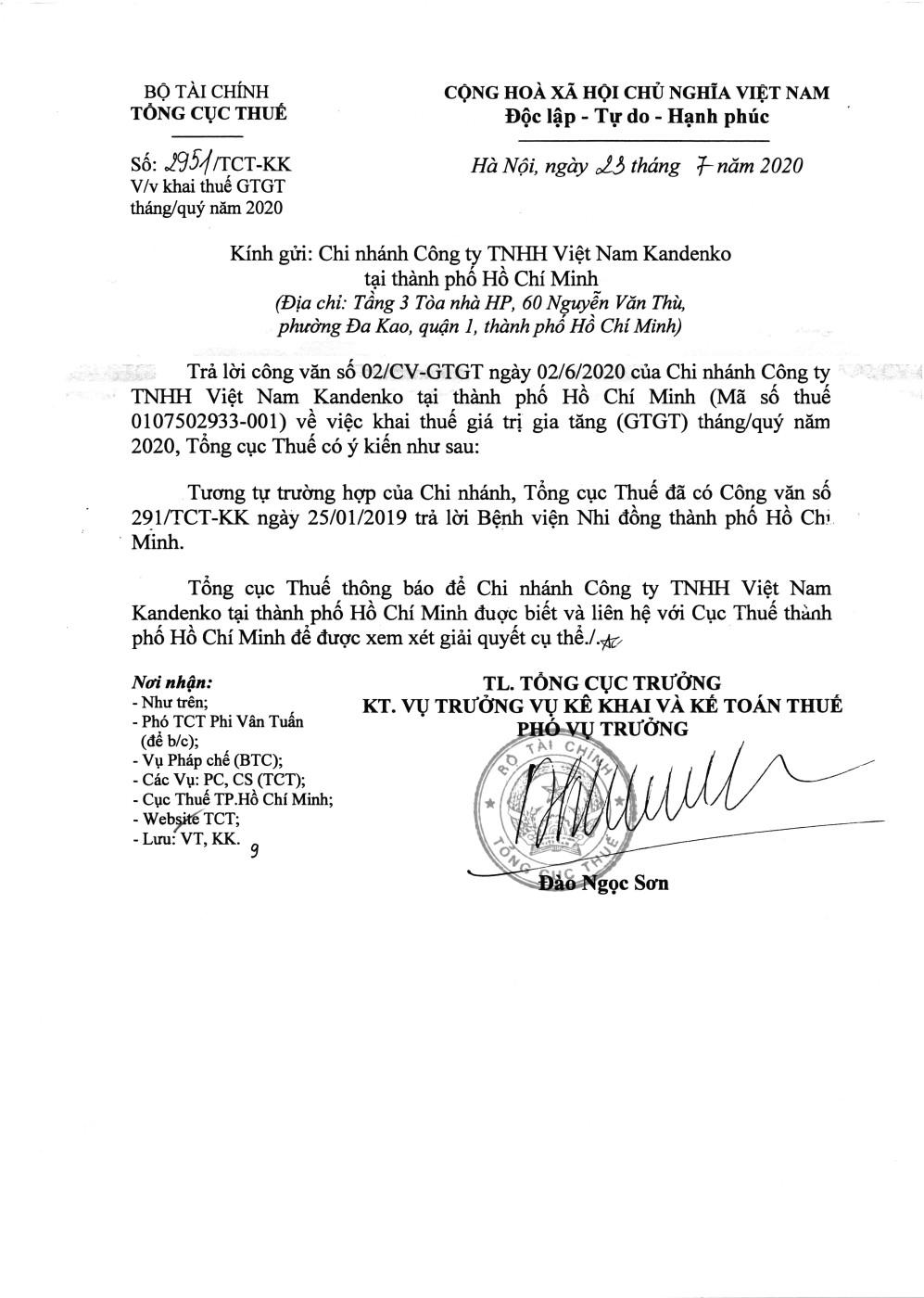 Công văn số 2951/TCT-KK của Tổng cục Thuế ngày 23/07/2020 v/v khai thuế GTGT tháng/quý năm 2020