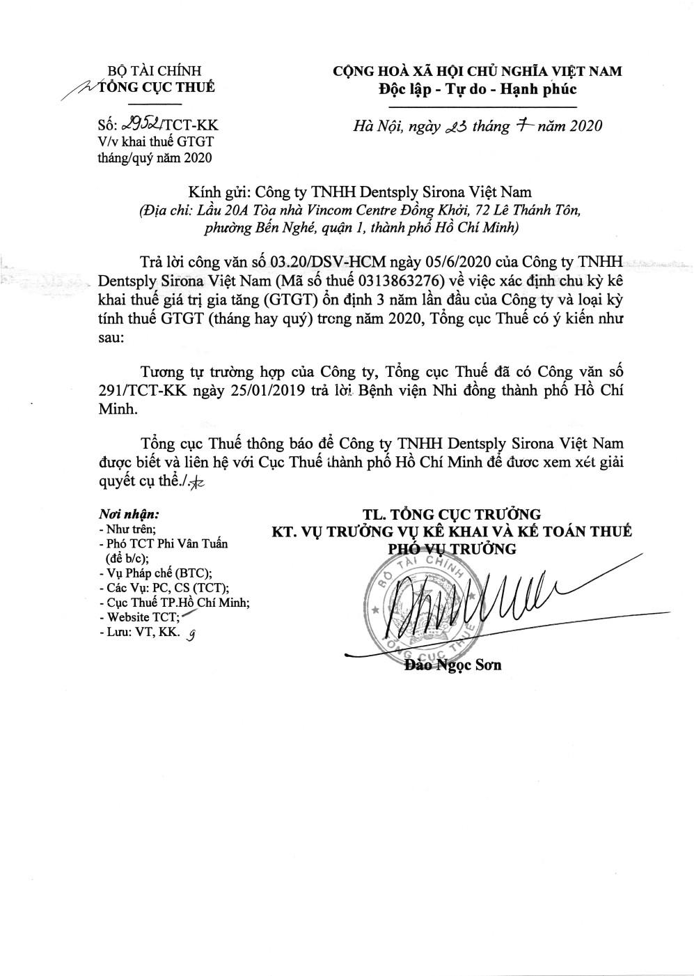 Công văn số 2952/TCT-KK của Tổng cục Thuế ngày 23/07/2020 v/v khai thuế GTGT tháng/quý năm 2020