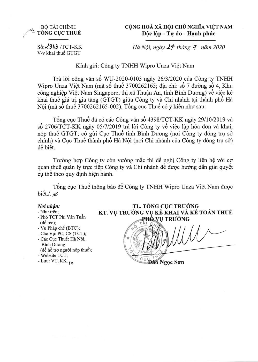 Công văn số 2963/TCT-KK của Tổng cục Thuế ngày 24/07/2020 v/v khai thuế GTGT