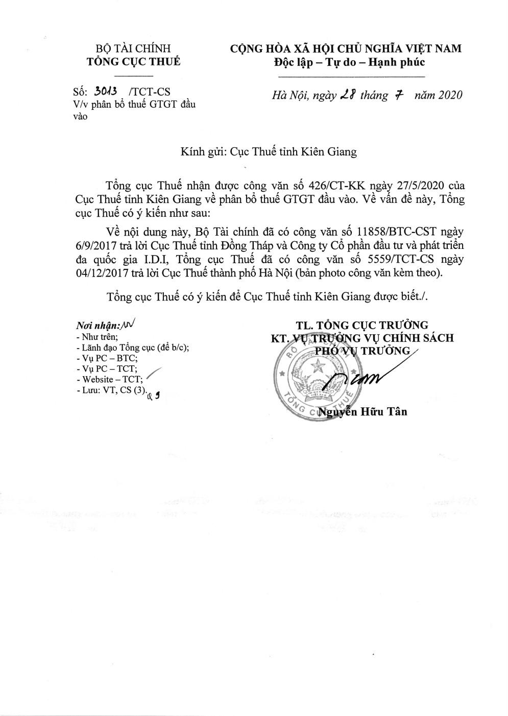 Công văn số 3013/TCT-CS của Tổng cục Thuế ngày 28/07/2020 v/v phân bổ thuế GTGT đầu vào