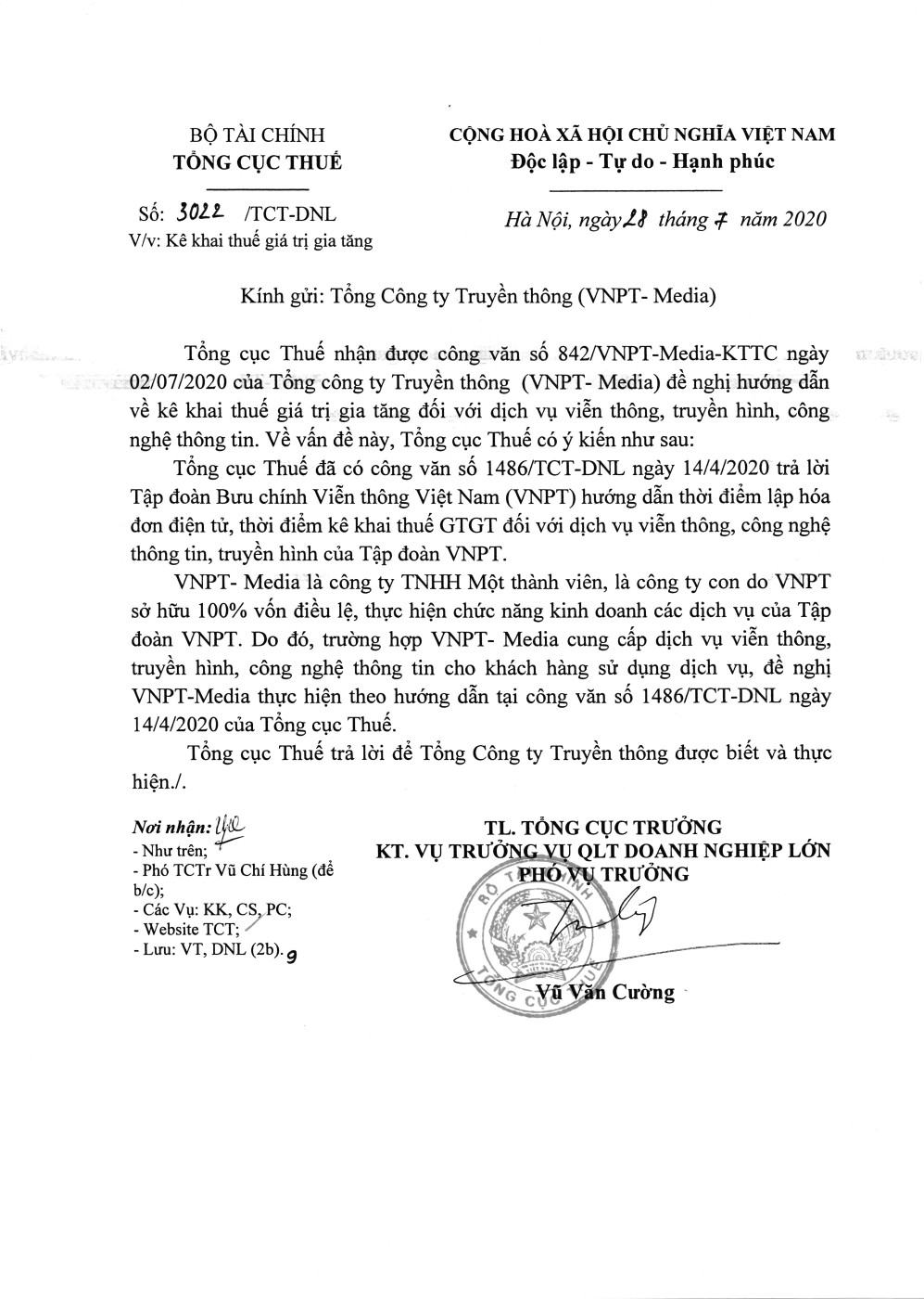 Công văn số 3022/TCT-DNL của Tổng cục Thuế ngày 28/07/2020 v/v kê khai thuế GTGT
