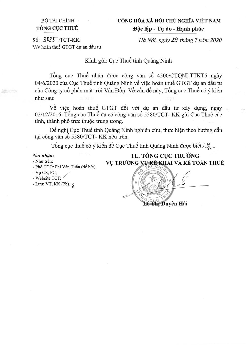 Công văn số 3025/TCT-KK của Tổng cục Thuế ngày 29/07/2020 v/v hoàn thuế GTGT dự án đầu tư
