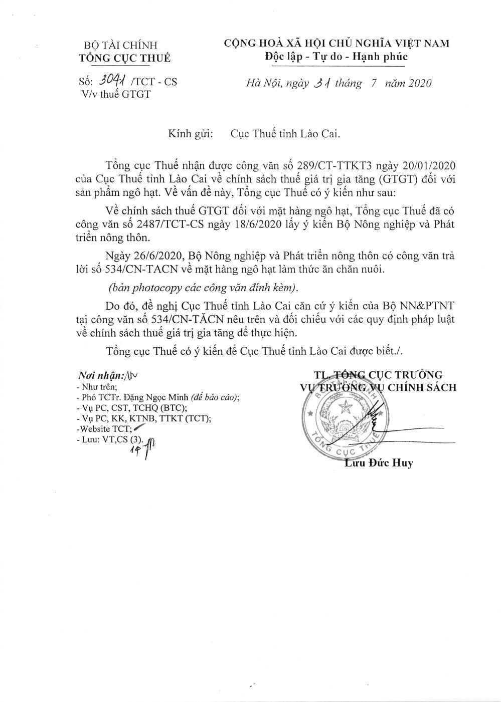 Công văn số 3041/TCT-CS của Tổng cục Thuế ngày 31/07/2020 v/v thuế GTGT