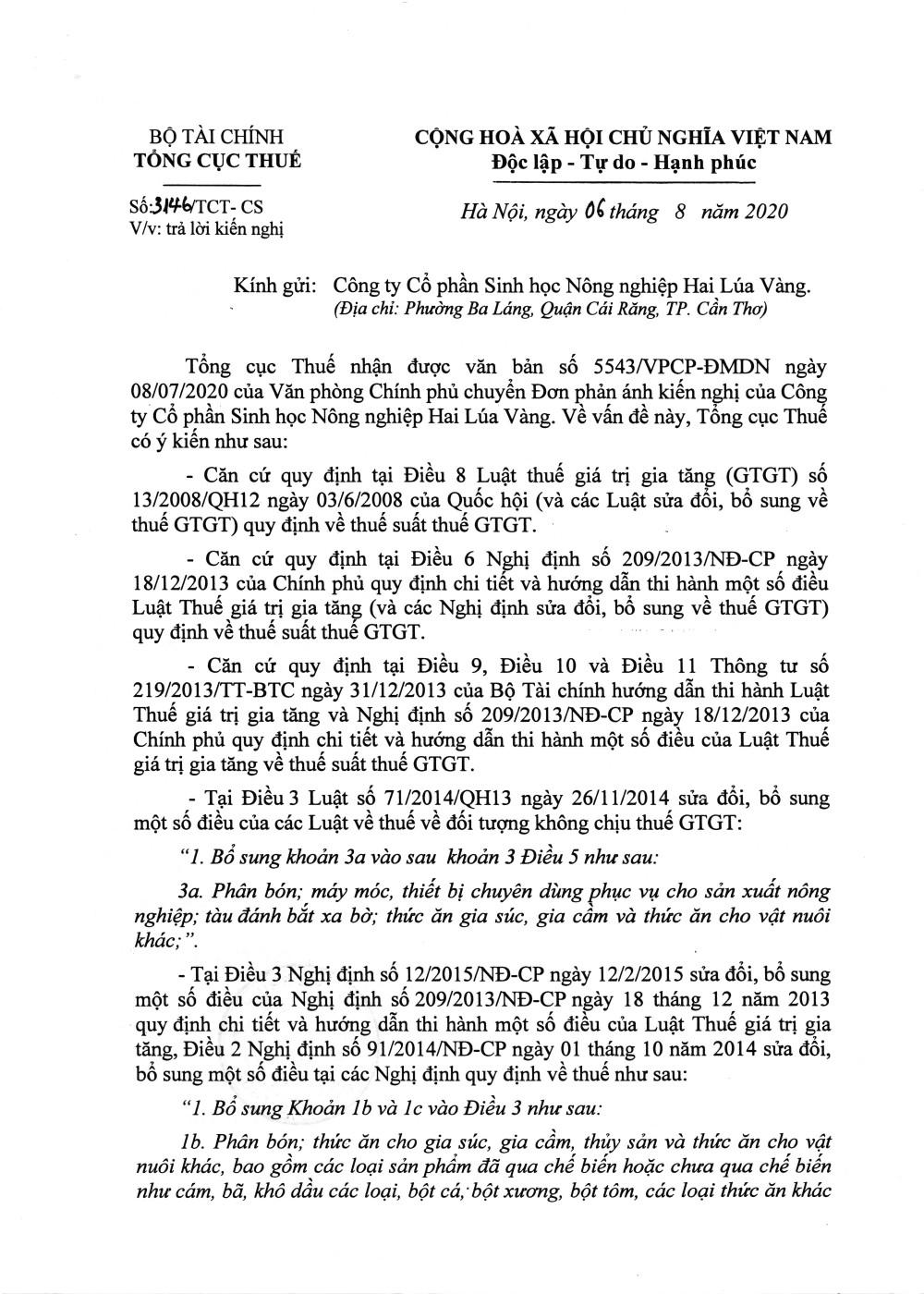 Công văn số 3146/TCT-CS của Tổng cục Thuế ngày 06/08/2020 v/v trả lời kiến nghị