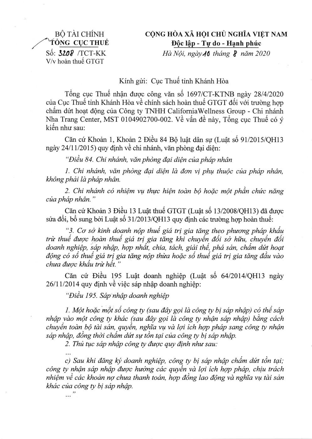 Công văn số 3208/TCT-KK của Tổng cục Thuế ngày 10/08/2020 v/v hoàn thuế GTGT