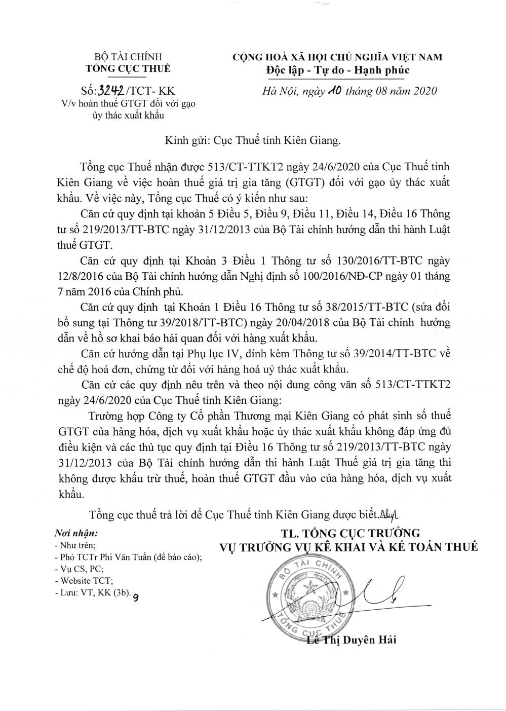 Công văn số 3242/TCT-KK của Tổng cục Thuế 10/08/2020 v/v hoàn thuế GTGT đối với gạo uỷ thác xuất khẩu